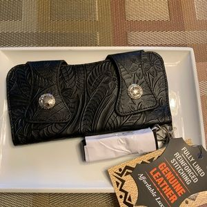 Solid Genuine Leather Chain Wallet